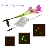 Wholesale Color Changing Waterproof Powerfrugal Solar Power LED Lily Landscape Flower Lamp Lights for Outdoor Yard Garden Path Way New
