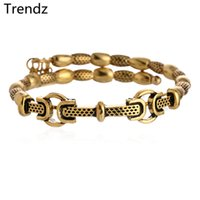 antiqued brass chain - Alex Ani Wrap Metal Beads Bracelets ANTIQUE GOLD Plated Steel Wire Bangle With Charms Vintage Antiqued Style DIY Jewelry AA201564