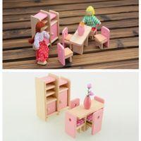 achat en gros de jouer dollhouse miniature-Wooden Doll Dinning Maison Meubles Dollhouse Miniature For Kids Jouer Toy livraison gratuite
