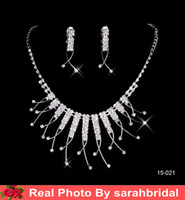 crystal drops - Cheap Bridal Jewelry Sets Silver Crystal Pendants Necklaces and Drop Chandelier Stud Rhinstone Earrings Fashion For Party Prom Sale Under