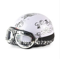 adult size scooters - IBK ABS Half Face Vespa Scooter Casco Motorcycle White flower Helmet amp UV Goggles For Adults Size M L XL