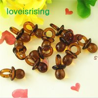 Wholesale Tracking number pack mm mm Clear Brown Mini Acrylic Baby Pacifier Baby Shower Favors Cute Charms Party Decorations