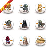 Wholesale 45Pieces Star Wars mm size Round Pin badge clothes pin for Christmas kids gift and Birthday party