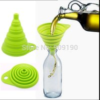 Wholesale DHL pc High Quality FDA Silicone Folding Collapsible Funnel Oil Water Kitchen Home Easy Storage
