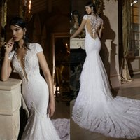 Cheap Sexy Wedding Dresses By Berta Bridal 2015 New Coming Short Sleeve Deep V-Neck Mermaid Wedding Dress Court-Train Appliqued Lace Bridal Gowns