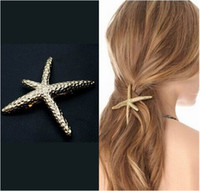 Wholesale Sunshine fashion natural starfish hair clip hair jewelry Headwear Sea Star Hairpin elegant beauty for women Hair Accessories accesorios para