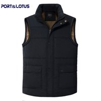 active ports - Fall Port amp Lotus Men Vest New Winter Fashion Casual Pure Color Striped Stand Collar Outdoor Active Thick men Clothing Men Clothes
