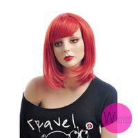 kanekalon hair - 15 inch Female Glamorous Charming Fashion Long Red Straight Kanekalon Fiber Synthetic Women Wig Hair g H9332Z