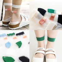 band aid printed - Japanese Summer Women Transparent Socks Harajuku Stretch Band Aid OK Crystal Sock Japan Glass Silk Art Socks Calcetines Mujer