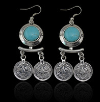 ancient coin earrings - Bohemian Coin Pendant Drop Earrings Ancient Silver Brilliant Turquoise Earrings