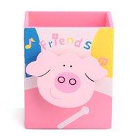 Wholesale PHFU Cartoon Pink Pig Memo Clip Wood Desk Pen Pencil Organiser Cup Holder