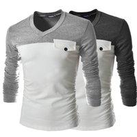 Moda primavera lojas de fábrica de algodão de moda bottoming camisa homens dos homens com decote em V cultivo de manga comprida T-shirt Atacado