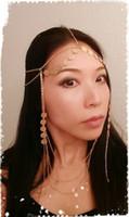 arab headdress - Fashion metal mesh gold chain across his forehead Arab headdress bohemian wedding tiara headband fashion jewelry
