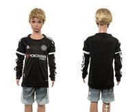 Wholesale 2016 New Arrival Chelsea blank Chelsea second away long sleeve kids black Soccer Jersey Allow Mix Order