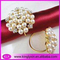 Wholesale flower shape pearl gold ring napkin holder