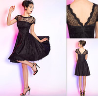 Wholesale Black Cocktail Dresses Short Sleeves Flare Knee Length Sheer Neck A line Dress For Party Custom Made Prom Gowns Summer New Style UK