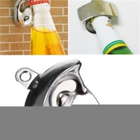 glass soda bottle - New Hot Sale Convenient Stainless Steel Wall Mount Bar Beer Soda Glass Cap Bottle Opener Kitchen Tool Best Quality