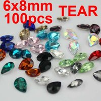 art diamante - 100pcs x8mm Tear Shape Crystal Stone Colors To Choose Or Mixed Colors Pack Perfect For Nail Art Diy Diamante
