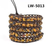 Wholesale 2016 Hot Selling New Women s mm tiger eye stone beaded Fashion Genuine Leather wrap Bracelets For women Christmas Gifts