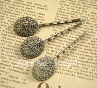 bobby pins with pad - 250piece Antique Bronze With Oval Filigree Wrap x22mm Pad Bobby pin Hair clips Jewelry Findings Accessories