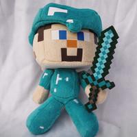 Unisex hot video games - 7 Inch Minecraft plush dolls quot HOT SELLING quot Minecraft Diamond Steve plush stuffed toy doll kids gift C001