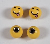 Wholesale 2014 new arrive novelty design brass and ABS materialcar wheel tire valve cap stem smile tongue price
