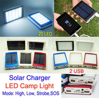 battery powered outdoor lights - Solar Power bank Dual USB LED Light mAh Camping outdoor lighting Solar Battery charger for iphone Samsung cell phone ipad MP4