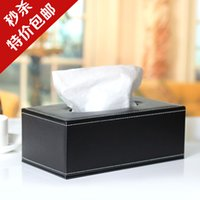 Wholesale Table napkin tissue box pumping paper box paper pumping box fashion household black customize leather