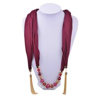 wine red beaded knit scarf - Plain Color Pendant Scarf Jewelry Clear Beads Scarves Necklace Scarfs with Acrylic Beaded Pendants Scarves for Women SC150039