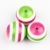 acrylic striped beads - New Arrival mm Green Hot Pink White Striped Resin Beads Chunky Bubblegum Beads For DIY Christmas Kids Necklace