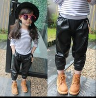 Cheap Korean children autumn 2015 new children's clothing baby girls tide fashion casual 9 pants leather pants, boots, pants
