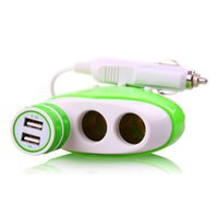 Wholesale Dual Port USB Car Charger for Cell Phones iPhone iPad Tablet Computers Socket Cigarette Lighter Power Adapter DC Output Splitter
