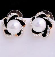 Wholesale white black crystal inlay pearl lady s earings cm xgspc