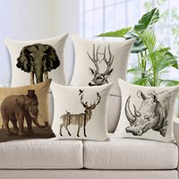 african hotels - African Animal Sofa Cushion Covers Rhino Deer Elephant Pillow Covers Linen Cotton Decoration for Home Car Office Decor