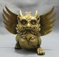 Wholesale New Tibet Bronze Buddhist Fly Bird Winged Garuda Redpoll Buddha Statue Lion Figurine