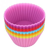 Wholesale 12pcs pack inch Soft Silicone Cake Muffin Chocolate Cupcake Bakeware Baking Cup Mold Multicolor