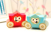 Cheap 2015 new candy box wedding supplies happy carriage wagon red blue wedding candy box candy bags wholesale custom