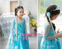 TuTu Summer A-Line Cheap in stock 2014 NEW Frozen clothes Romance elsa princess dress Elsa & Anna dresses Costume kids girls Blue Dress party dresses BO6799