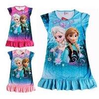 nighties - Hu Sunshine Retail New FROZEN Elsa and Anna girl girls short sleeve pajamas nightgown sleepwear nightie dress children
