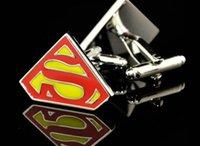 Wholesale novelty superman cufflinks for mens high quality shirt cufflink marvel superhero cuff links abotoaduras