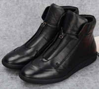 ankle walking boot - Designer front zipper black Trendy mens walking shoes ankle boots genuine leather casual sneaker shoes mens flats outdoor shoes
