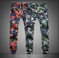 linen pants - 2015 New Hot Sale Men s Pants Casual Floral Print Pants AFM002 Men s Capris Men Elastic Waist Longs Mens Plus Size M XL Linen Trousers