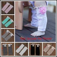 baby footed leggings - 2015 toddler kids leg warmers infant baby hollow out lace Warm feet buttons Cotton short legs boot cuffs kids leggings J090103 DHL FREESHIP