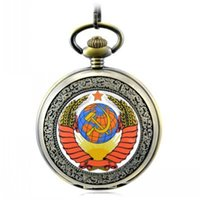 Wholesale New Best FullmetalSoviet Communist Party Emblem pocket watch Stone Pocket Watch best Gift Christmas