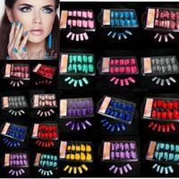Wholesale 100 Women Lady Hot Sale False Fake Acrylic Gel French Nail Art Half Tips Salon Colorful False Nail Tips Makeup Tools