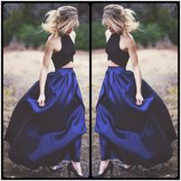 apple blouse - 2016 Sharp Blue Colour Long Skirt and Black Blouse Two Pieces Prom Dresses Elegant Evening Dresses Wear