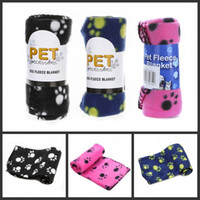 printed fleece blanket - Cute Pet Dog Cat Blanket Paw Prints Soft Warm Fleece Mat Bed Cover Four Colors Choose Freeshipping H9114