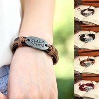Wholesale Genuine Leather Bracelet Women Men Fish Bone Charm Bracelet Bangle Fashion Jewelry P0013 P0023