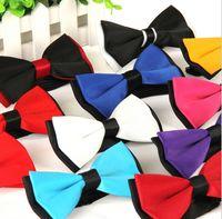 Wholesale 200pcs New Mens Bowties wedding bow tie silk two tone neckwear women s bowties Plain Bowtie pure color styles
