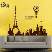 air plane designs - Large Cool unique design eiffel tower air balloon Vinyl Wall Decals Wall Art Mural Stickers Adesivos Girls bed Room Decoration